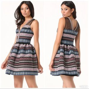 Bebe Embroidered Organza Fable Stripe Fit & Flare
